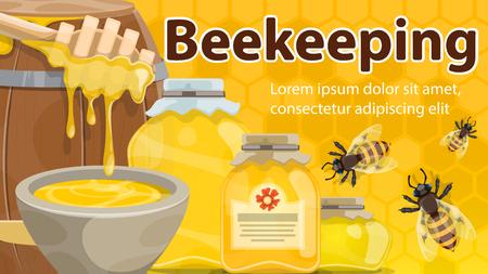 Banner de apicultura con miel y abeja. Tarro y barril de miel natural con cartel de cucharón y abejas sobre fondo de panal amarillo para etiquetas de alimentos dulces o diseño de temas de apicultura Ilustración de vector