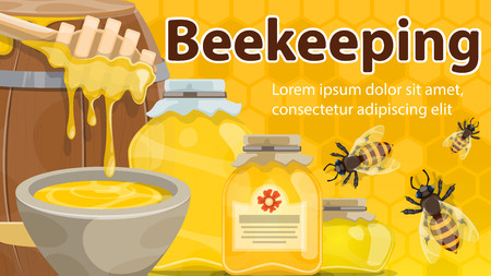 Beekeeping banner with honey and bee. Jar and barrel of natural honey with dipper and honeybees poster on yellow honeycomb background for sweet food label or apiculture themes design Illustration