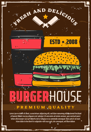 Burger house vintage poster, vector fast food restaurant menu. Hamburger with beef and vegetables on wheat bun with cup of coffee retro banner, decorated with scratched frame, text and star Illustration
