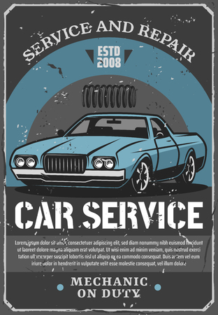Car repair service and auto mechanic garage station vintage poster, retro vehicle and shock absorber spare part. Old classic car vector, mechanic workshop advertising signboard design
