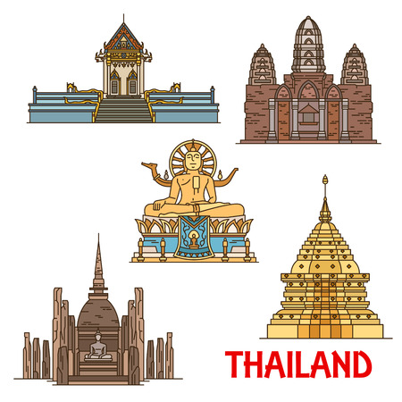 Thailand vector travel landmarks. Ancient thai temples, pagodas and statues linear icons. Big Buddha Temple, Wat Khunaram, Phra That Doi Suthep, Mahathat and Si Sawai Illustration
