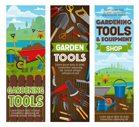 Gardening tools and equipment banners, garden center. Agriculture shovel, rake and trowel, spade, fork and bucket, watering hose, can and wheelbarrow, axe and saw vector toos
