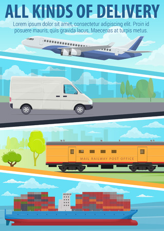 Post mail delivery service with road, air, railway and marine freight transport. Delivery truck or van, container ship, cargo airplane and train. Logistics and transportation theme