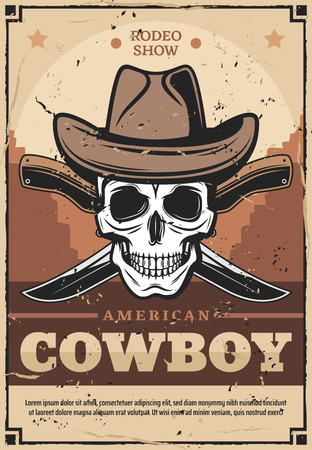 American cowboy wild west vintage vector design. Skull in leather hat with crossed knives and wild west desert landscape on background. Rodeo show or western party invitation design Иллюстрация