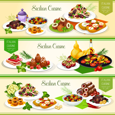 Sicilian cuisine banners for italian restaurant menu design. Vegetable pasta, tomato cheese bruschetta and beef roll, stuffed tomato, fruit dessert and cannoli with cream, mussels and eggplant stew