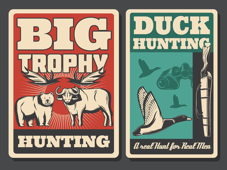 Wild animal and bird hunting sport retro posters. Ducks, bear and buffalo, hunter rifle, antlers and binoculars ammunition. Hunting open season and huntsman competition or community theme