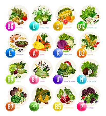 Alimenti ricchi di vitamine e ingredienti nutrizionali sani. Frutta, verdura e noci naturali, cereali, fagioli e funghi, fonti vegetariane biologiche per la salute e la prevenzione delle malattie Vettoriali