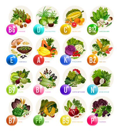 Vitamine rijk voedsel en gezonde voedingsingrediënten. Natuurlijk fruit, groenten en noten, granen, bonen en paddenstoelen, biologische vegetarische bronnen voor gezondheid en preventie van ziekten Vector Illustratie