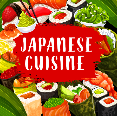 Japanese cuisine rolls, temaki nd uromaki, gunkan and inari, nigiri and maki sushi with chopsticks and wasabi sauce, seafood restaurant and buffet menu. Japanese vector sushi and rolls, food of Japan