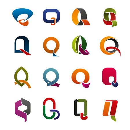 Letter Q abstract icons of corporate identity, business elements. Colorful ribbons, curved lines and geometric figures in a shape of alphabet symbol q Illustration