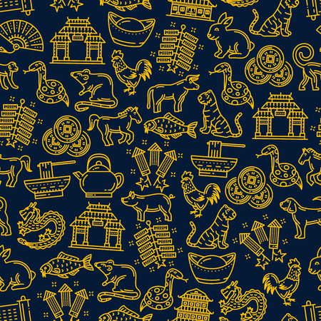 Chinese seamless pattern background with zodiac animals and holiday symbols. Dragon, pig and dog, temple and noodles, spring festival firecracker, lucky coin and carp fish, rooster, monkey and snake
