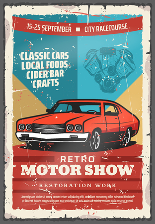 Retro motor show vintage poster with classic car. Old car with vehicle engine parts, retro motor club or racing sport promotion flyer design
