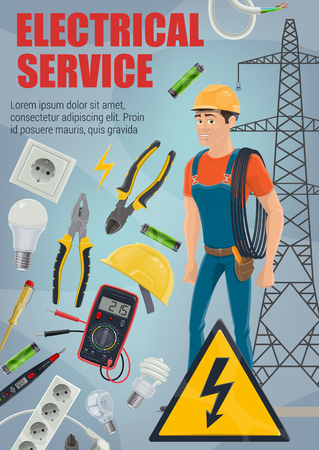 Electrical service. Vector electrician, electric equipment and tools. Electrical engineer or lineman with wire, cable and light bulb, screwdriver, pliers and cutters, hard hat and voltage tester Illustration