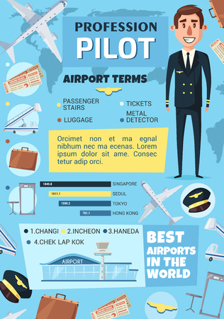 Pilot profession with airport infographics. Graph of world best airports and chart of air travel terms with airplane, crew captain, tickets, passport and luggage cartoon icons Foto de archivo - 128161628