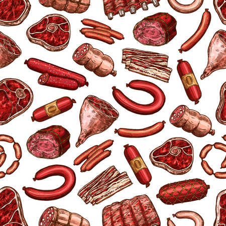 Butcher shop meat food seamless pattern. Vector beef steak, pork chop and lamb ribs, sausage, bacon and ham, raw fillet, sirloin and jerky, salami, gammon and bologna background