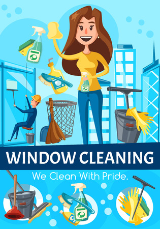 Window cleaning service. Window cleaner washing windows with squeegee, spray and sponge, bucket, detergent and gloves in office building, skyscraper. Woman cleaning glass in house