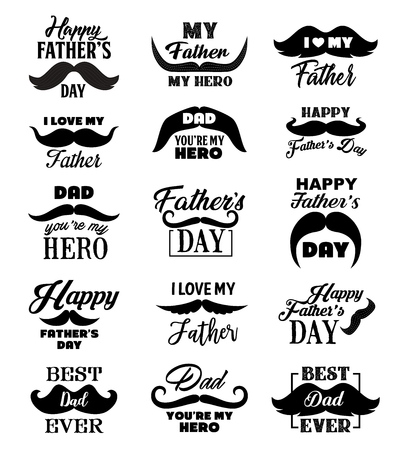 Happy Father Day vector lettering quotes, Best Dad Ever and I Love My Daddy hand drawn text. Calligraphic icons for greeting card and gift tag, decorated with mustaches and hearts