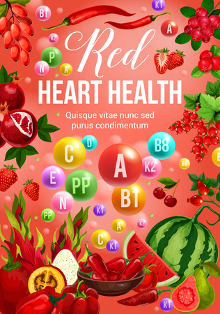 Red color diet, heart health poster with vitamins, vegetables, fruits and vegetarian food. Strawberry, pepper and tomato, watermelon, cherry and currant, dragon fruit, barberry and cranberry Vectores