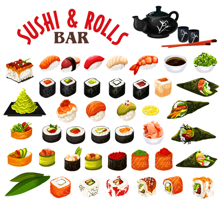 Sushi and rolls of japanese seafood with sauce and chopsticks. Vector roll, uramaki and inari, nigiri and gunkan, temaki sushi with salmon fish, rice and shrimp, seaweed nori, tuna, caviar and avocado