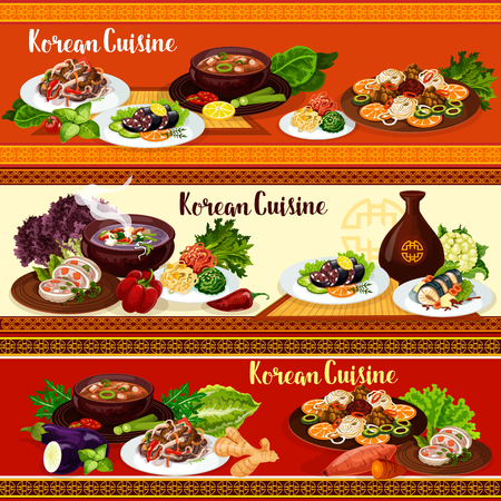 Korean food, vector asian cuisine. Noodle bibimbap, kimchi and tofu soup with pork, vegetable salad, squid and fried fish, grilled beef bulgogi and blood sausage, restaurant menu banners Illustration
