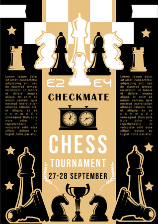 Chess tournament, strategy board game competition. Vector chessboard with chess pieces of black and white knight, pawn and bishop, rook, queen and king, winner trophy cup and clock