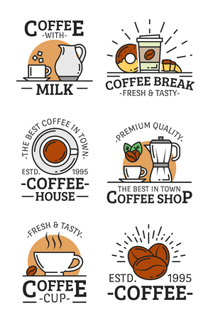 Coffee cup, mug and beans, milk jug, croissant and donut, sugar and coffee pot vector linear icons. Coffee shop badge, cafe or restaurant emblem design