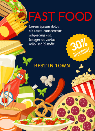Fast food restaurant menu special offer poster. Pizza, hamburger and hot dog, fries, cheese sandwich and mexican taco, chinese noodles, popcorn and burrito offer of lunch dishes Ilustração