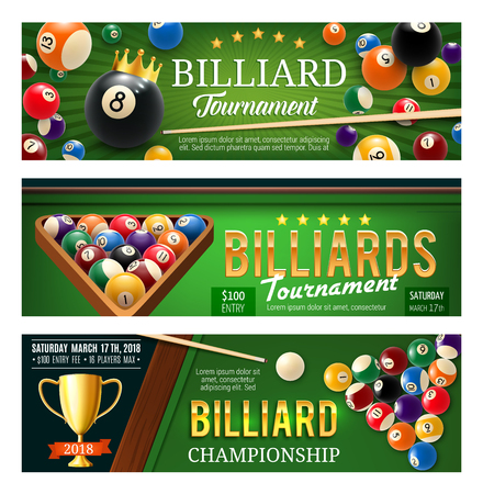 Billiards, snooker and pool sport game banners. Competition flyer template. Billiard ball pyramid, cue and winner trophy cup on green table 3d illustration, decorated with crown and ribbon Vectores