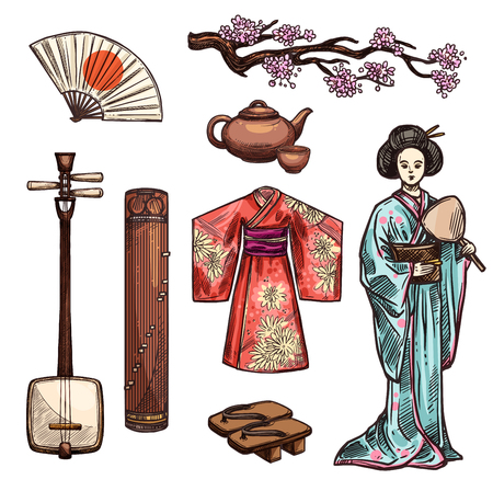 Japanese symbols with asian culture and art icons. Sakura flowers, geisha with fan and tea ceremony set, kimono, wooden shoes geta, musical instruments shamisen and koto sketches, isolated vector