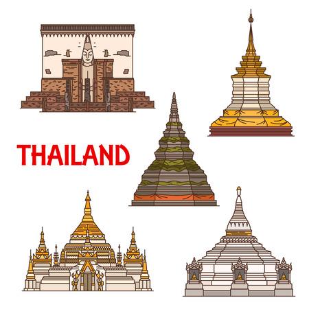 Travel landmark of Thailand, vector icons of ancient buddhist temple. Stupas of Phra That Chedi Luang and Phra That Doi Chom Thong, Phra That Doi Kong Mu, Chong Klang and chapel of Wat Si Chum