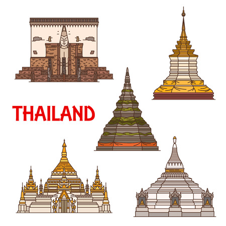 Travel landmark of Thailand, vector icons of ancient buddhist temple. Stupas of Phra That Chedi Luang and Phra That Doi Chom Thong, Phra That Doi Kong Mu, Chong Klang and chapel of Wat Si Chum