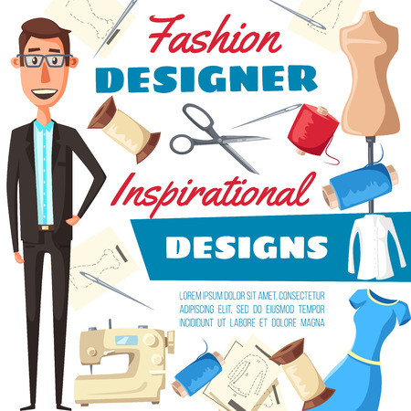 Fashion designer or tailor man with sewing tools. Vector dressmaker, textile and buttons, needle, dress and measure tape, sewing machine, thread, scissors and dummy, atelier studio design