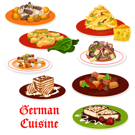 German cuisine meat and vegetable dishes. Salads with sausage, cheese and potato, apple and onion, beer soup, pork ribs stew with sauerkraut, chocolate and almond cake desserts. Vector design