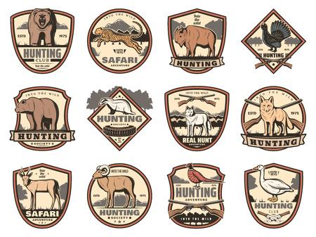 Iconos heráldicos deportivos de caza de armas de cazador, animales y aves. Buck ciervo, pato y oso, zorro, lobo y buey, ganso, bisonte y antílope, jaguar, faisán y escudos vectoriales de urogallo con armas de cazador