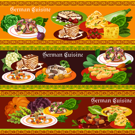 German cuisine dishes with meat and vegetables, vector. Potato and sausage salads with cheese and apples, beer soup, pork ribs with sauerkraut and pepper stew, chocolate and almond cakes