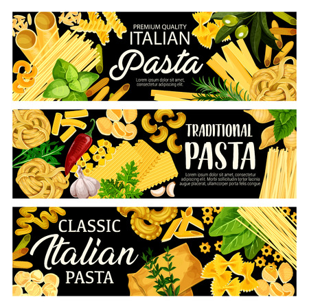 Pasta italian food, vector fettuccine, penne and tagliatelle, different kinds of tortellini, spaghetti and rigate. Vector farfalle, ravioli and lasagna with basil, olive and garlic