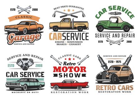 Autoreparatieservice, retro motorshow en automonteur garage iconen van vintage voertuig met moersleutel, spanner, bougies en automotor. Symbool, embleem en teken vector