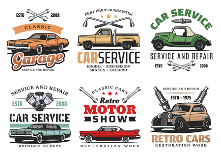 Car repair service, retro motor show and auto mechanic garage icons of vintage vehicle with wrench, spanner, spark plugs and car motor. Symbol, emblem and sign vector