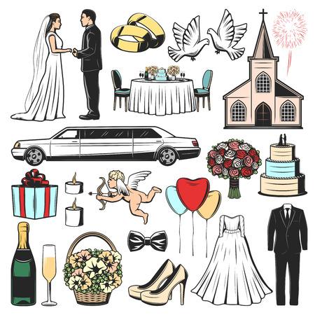 Mariage, icônes vectorielles de cérémonie de mariage. Cadeau, coeur d'amour et gâteau, robe de mariée, église et bouquet, bague, voiture de luxe, mariés, colombes, arc et bouteille de champagne avec verre, bougie et ballon