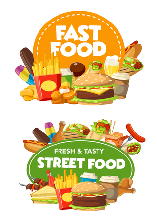 Fast food restaurant and street food cafe burger snack and drinks. Vector hamburger, hot dog and potato french fries, coffee, ice cream and chicken nuggets, cheeseburger and taco, takeaway meal design