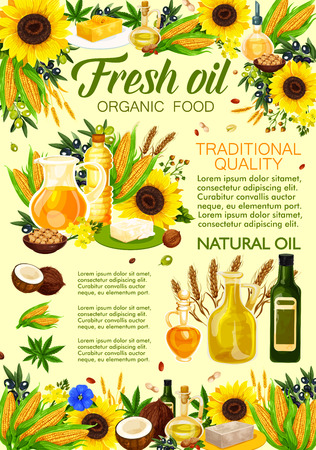 Natural vegetable oil from sunflower, olive and coconut, corn, canola, sesame and flax seed, soybean, peanut and walnut with fresh plants and bottles. Food industry and organic product, vector