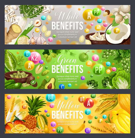 Color diet vitamin food with green, white and yellow fruits, vegetables and nuts, herbs, cereals, mushroom and seeds. Dieting and vegetarian nutrition benefits, vector