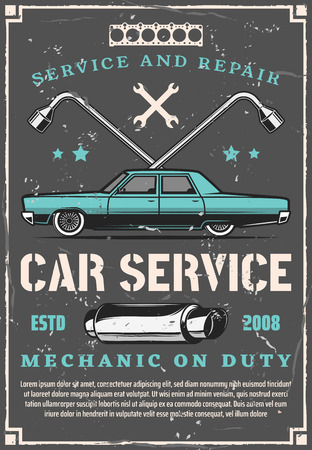 Car service, auto engine repair and mechanic maintenance. Vintage spanner and wrench, vehicle motor gaskets and exhaust pipe. Car spare parts store and tuning workshop, vector design