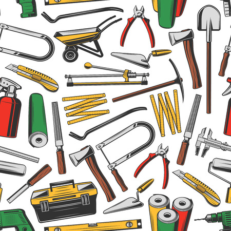 Repair and construction work tools, vector seamless pattern background. Screwdriver, drill and carpenter toolbox, hammer, trowel and pliers, ruler, tape measure and saw, axe, wallpaper and shovel