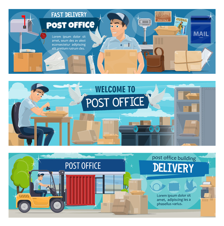 Post office, postal delivery service. Vector postman cartoon character working at counter with parcels, paper boxes and letters, mail sacks, packages and correspondence