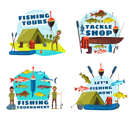 Fishing sport tour vector icons with fisherman, fish catch and equipment. Fisher with lure, hooks and boats, fishing rods, baits and tackle, lake trout, ocean marlin and sea bass Foto de archivo - 110845002