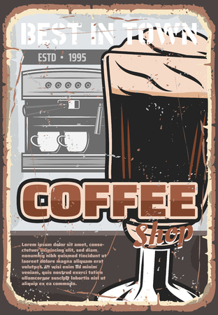 Coffee machine and cup of brewed espresso beverage or cappuccino drink, topped with whipped cream. Cafe breakfast menu, coffee shop or restaurant vector retro design