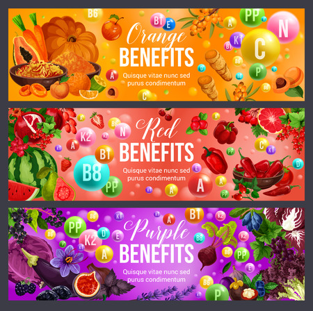 Color diet benefits of vitamin food and healthy nutrition. Orange, red and purple fruits and vegetables, berries, herbs and spices. Healthcare and dieting vector theme Foto de archivo - 110845003