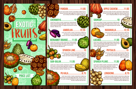 Tropical fruits vector menu with exotic apple cashew, bergamot orange and lime, cherimoya, physalis and spanish plum, pandan, soursop and jambolan sketches. Natural juice, dessert and drink theme Illustration