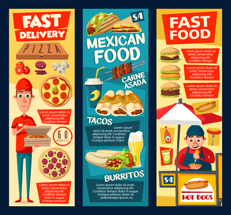 Fast food pizza delivery, mexican restaurant meal and street food vender. Vector burger, hot dog and hamburger sandwiches, burrito, taco and enchilada with soda and coffee drink